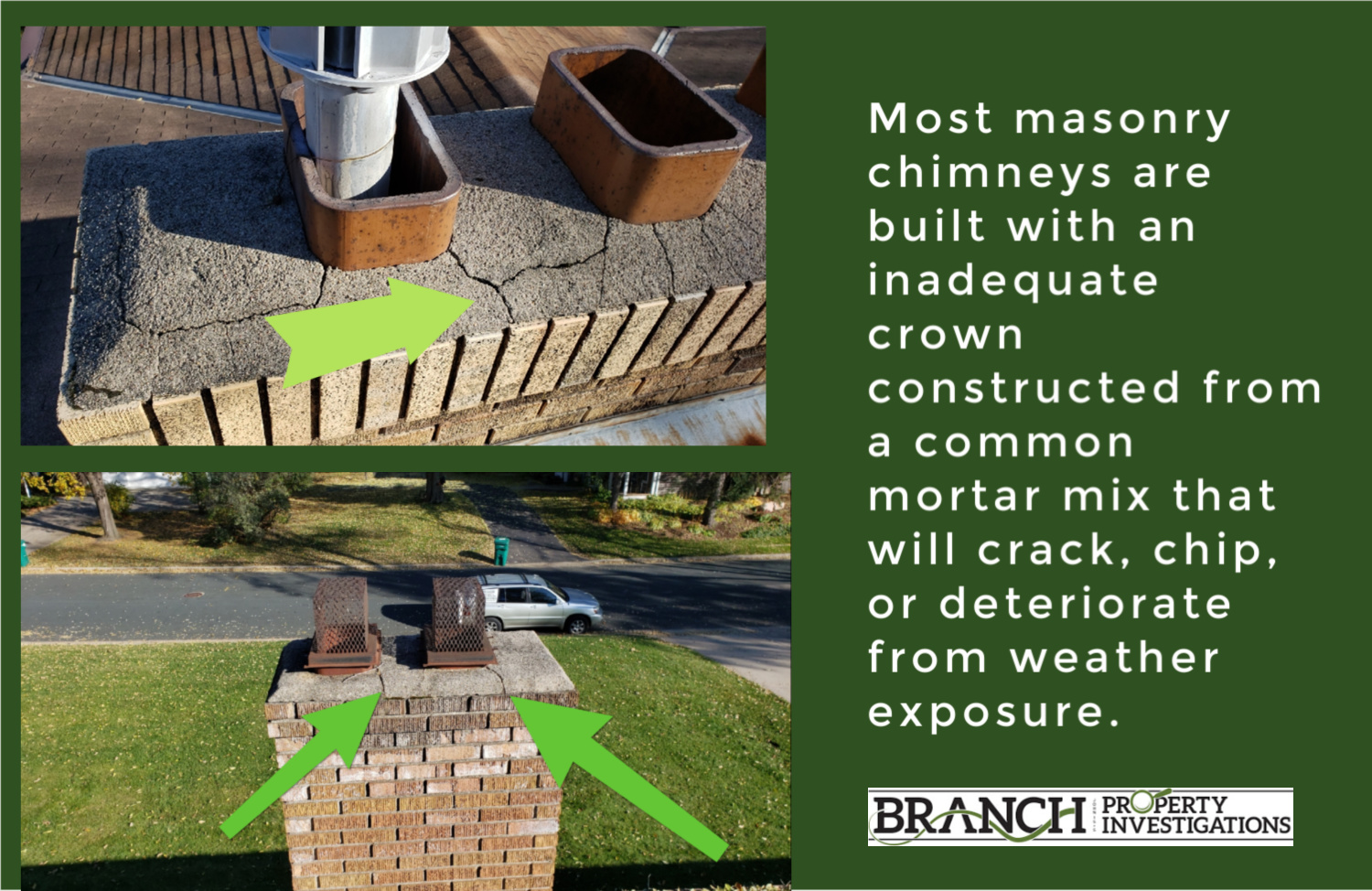 cracked chimney crown